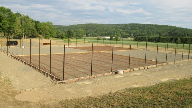 The tennis courts by SVE High School are taking shape.