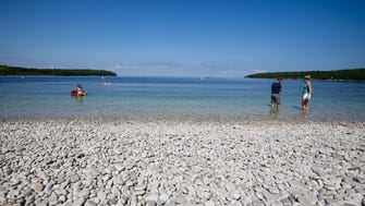 Schoolhouse Beach on Washington Island features smooth, white limestone rocks.