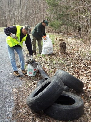 Volunteers found trash, tires and TVs during a cleanup of Mentzer Gap Road on April 2, 2016.