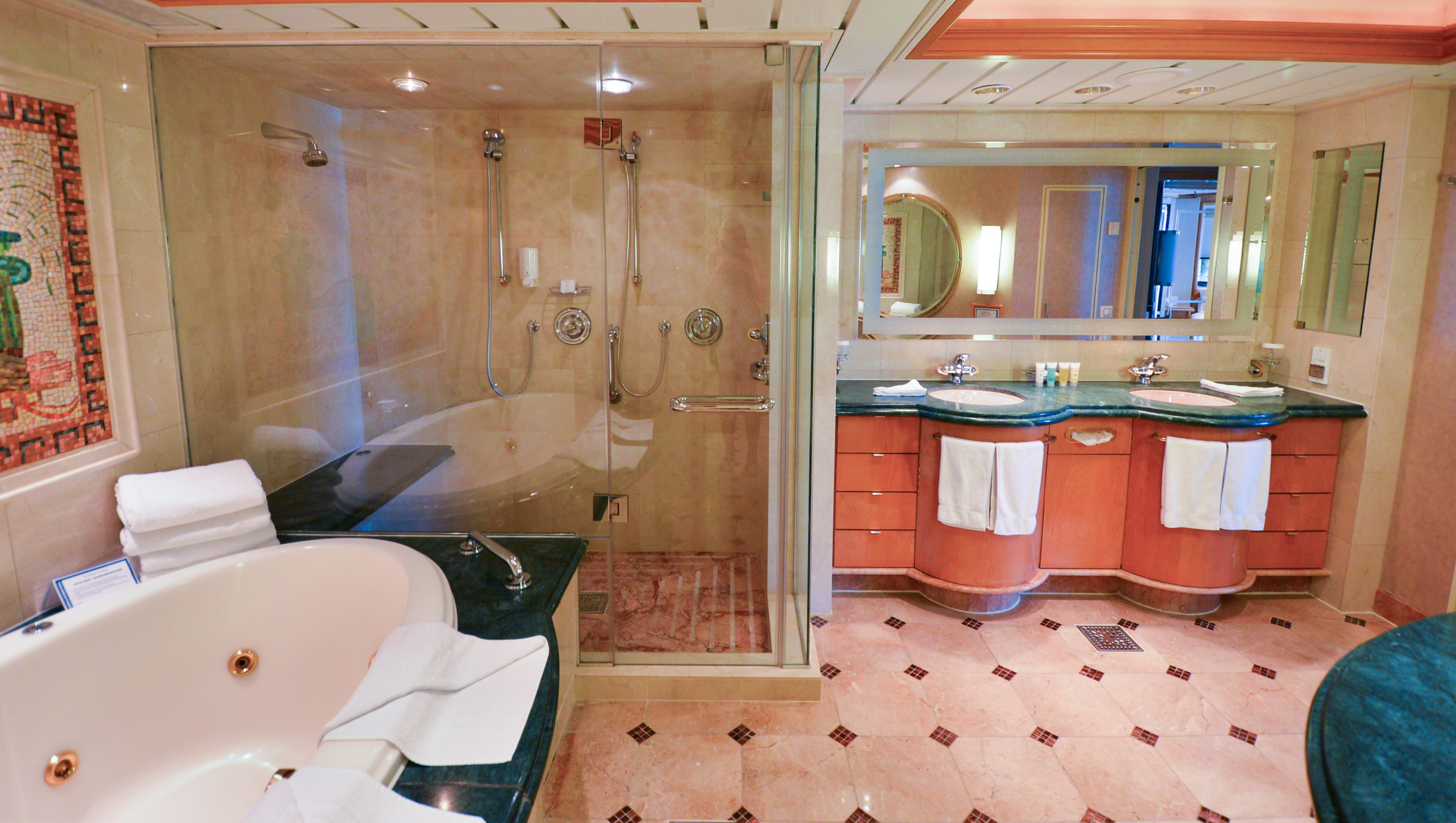 The Royal Suite's master bathroom has three sinks in all -- two in the main part of the bathroom and one more near the toilet and bidet.