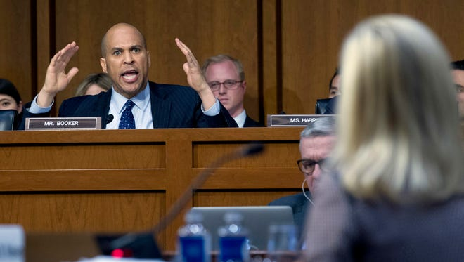 Sen. Cory Booker, D-N.J., questions Homeland Security Secretary Kirstjen Nielsen during a hearing before the Senate Judiciary Committee on Tuesday, Jan. 16, 2018, in Washington.
