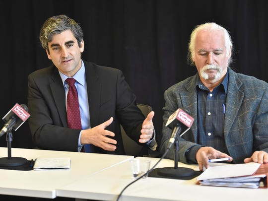 Incumbent Burlington Mayor Miro Weinberger, left, a