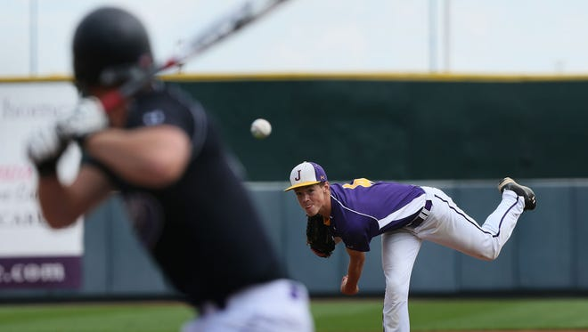 Johnston pitcher Jack Dreyer throws in their 4A quarterfinal game against Waukee at the 2014 State Baseball Tournament at Principal Park Wednesday, July 30, 2014.