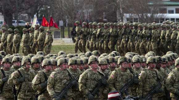 Battalions participate in a 2010 deployment ceremony at Fort Knox.