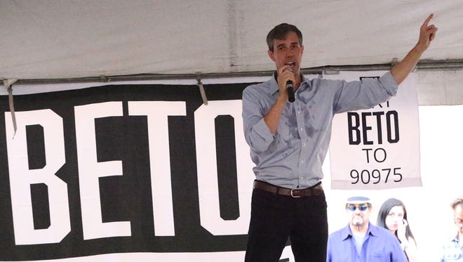 U.S. Senate candidate U.S. Rep. Beto O'Rourke speaks to El Paso supporters during a 'Menudo & Mariachis' event July 29 at 415 E. Yandell Drive near Downtown El Paso.