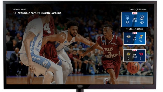 This undated product image provided by Turner Broadcasting System, Inc., shows the March Madness Live service on Amazon's Fire TV, with a feature for easily switching between games.