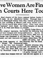 Sheboygan Press article dated Feb. 15, 1951, with the first set of fines and arrests for the January raids.