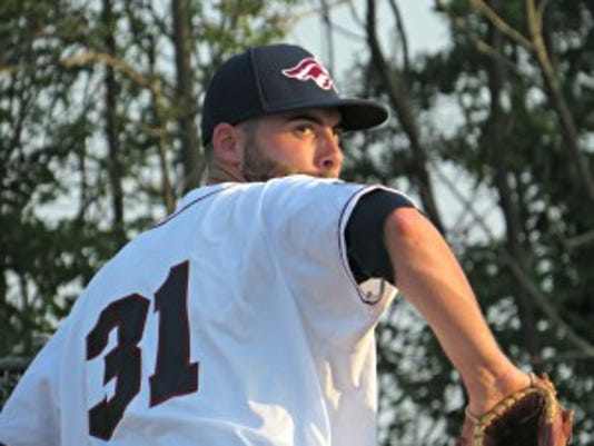Matt Zielinski pitched well on only two days rest, striking out four Bluefish batters in six innings after rain erased his Saturday start.  (Photo: Mike Ashmore)