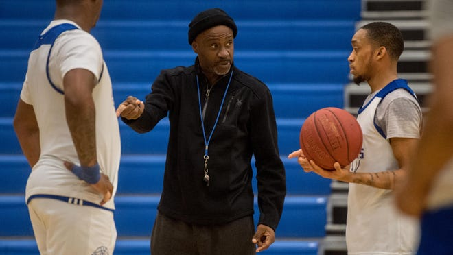 Illinois Central College men's basketball head coach Tony Wysinger instructs his team during a practice last season. Wysinger has been involved in the decision-making process at the Region 24 and Mid-West Athletic Conference levels in how to move forward in the COVID-19 pandemic.