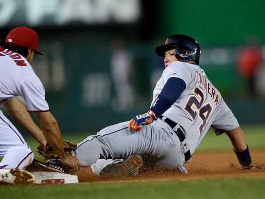Detroit Tigers' Miguel Cabrera (24) is tagged out at third by Washington Nationals third baseman Anthony Rendon (6) during the eighth inning of an interleague baseball game, Monday, May 9, 2016, in Washington. The Nationals won 5-4. (AP Photo/Nick Wass)
