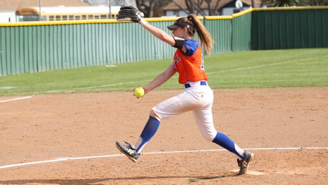 San Angelo Central High School starting pitcher Ashton McMillan gets ready to fire a pitch against Killeen High in a District 8-6A softball game at the Central Softball Complex on Monday, March 12, 2018.