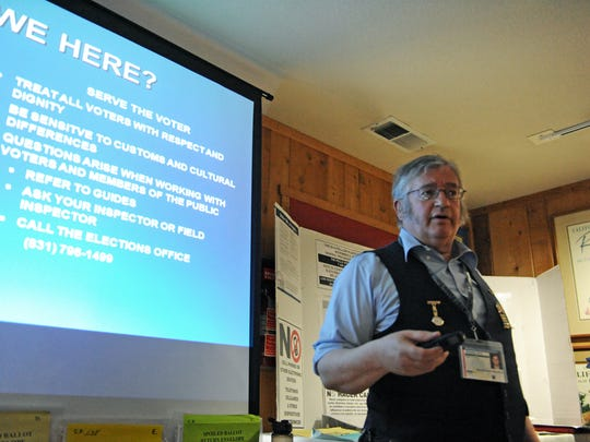Kevin Ross Hanstick, a field inspector for Monterey County Elections, conducts poll worker training on Thursday at the Salinas Sports Complex.