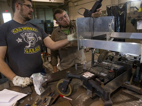 Ivy Tech welding students Jonathan Walker, left, and