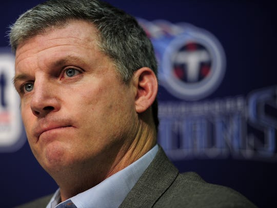 Titans coach Mike Munchak addresses the media during