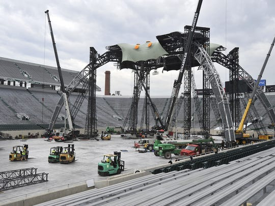 Crews disassembled the U2 360 World Tour stage at MSU's Spartan Stadium on June 27, 2011. The concert took place a day earlier.