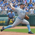Jun 19, 2016; Kansas City, MO, USA; Detroit Tigers starting pitcher Jordan Zimmermann delivers a pitch in the first inning against the Kansas City Royals at Kauffman Stadium.