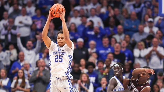 Kentucky's PJ Washington grabs a big rebound late in the second half to help the Wildcats secure a 74-73 win over Texas A&M Tuesday, Jan. 8, at Rupp Arena. Washington had 16 points with four rebounds.