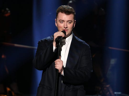 Sam Smith on stage at the American Music Awards in Los Angeles on Nov. 23, 2014.
