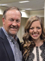 Chris Goodman and Carlie Ainsworth at the Alabama Christian Athletics and Fine Arts Hall of Fame induction. Goodman coached Ainsworth in both basketball and softball at ACA.