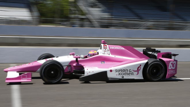 Pippa Mann was the second driver to crash during Indianapolis 500 practice at the Indianapolis Motor Speedway on Wednesday. Helio Castroneves crashed earlier in the day.