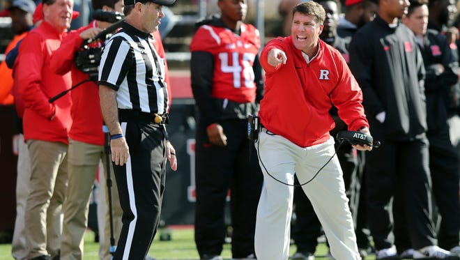 Rutgers head coach Chris Ash shouts at side judge Bobby Sagers as he reacts to a call during the second half of a NCAA college football game against Indiana Saturday, Nov. 5, 2016, in Piscataway, N.J. Indiana won 33-27. (AP Photo/Mel Evans)