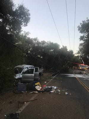 A person was injured after a crash Wednesday evening in the Ojai Valley,