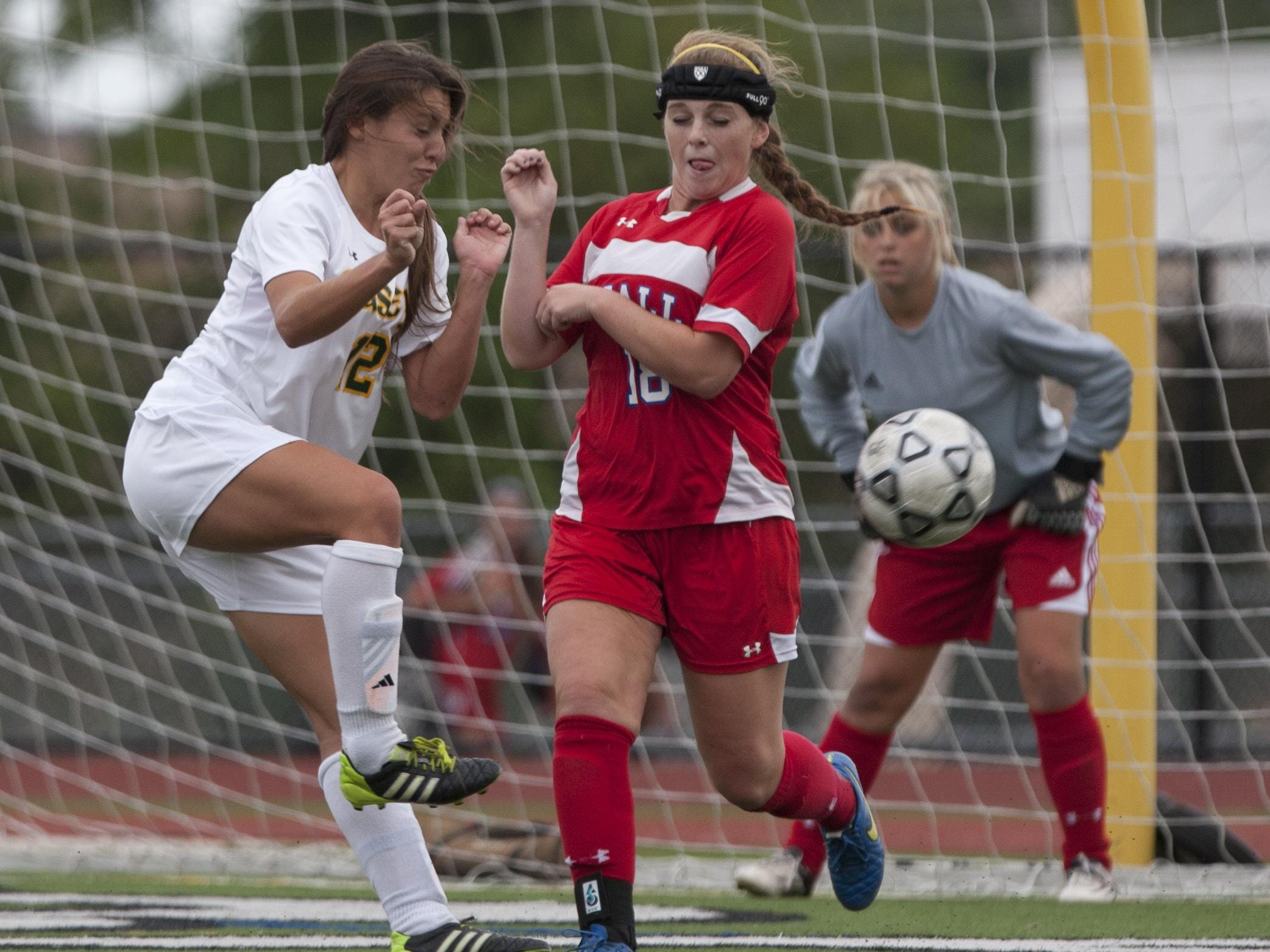 Red Bank Catholic's Sarah Lucia and Wall's Kate Kinsella battle for ball during second half of Wall Girls Soccer vs Red Bank Catholic in Red Bank NJ on September 22, 2015.