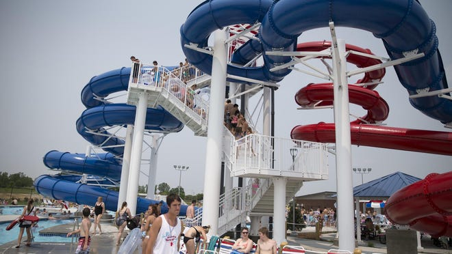 A complex of three large water slides at Freedom Springs, a new water park in Greenwood, Tuesday, June 10, 2015.