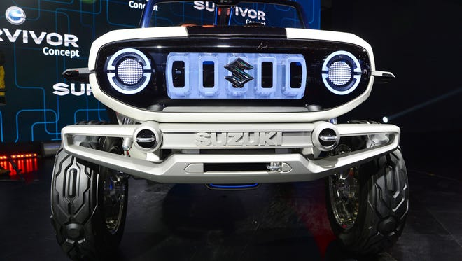 A Maruti Suzuki electric e-Survivor concept car during the Indian Auto Expo 2018 in Greater Noida.