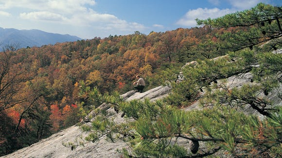 Photos courtesy of Kentucky Department of Parks; Kingdom Come State Park's Raven Rock leans at a 45-degree angle and rises 290 feet. The park may not be as popular a fall destination as some others, but the scenery will more than reward the effort to get there.