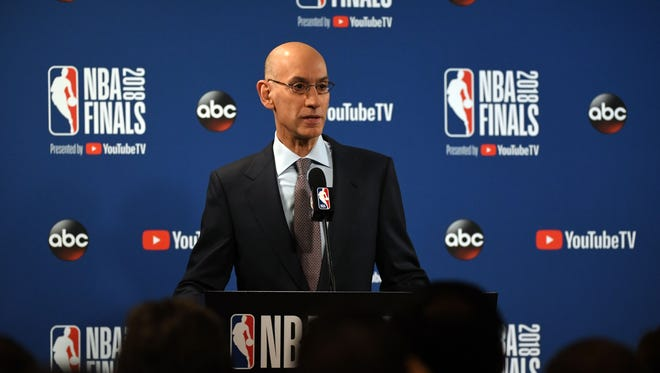 NBA commissioner Adam Silver speaks during a press conference before Game 1 of the 2018 NBA Finals.