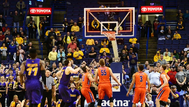 Wes Washpun watches his game-winning shot bounce in at the buzzer to lift Northern Iowa past Evansville.