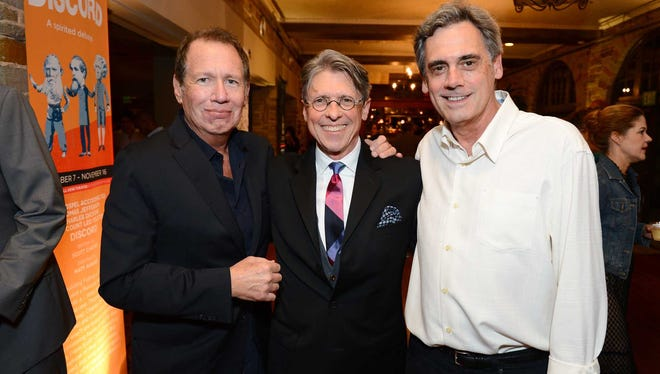 "Scott Carter, center, Garry Shandling, left, and Randall Arney, right. attend the opening night of ""Discord"" at The Geffen Playhouse on Wednesday, October 15, 2014.  Photo by Jordan Strauss for Geffen Playhouse."
