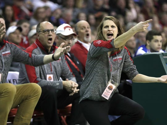 Hortonville High School's coach Celeste Ratka disputes