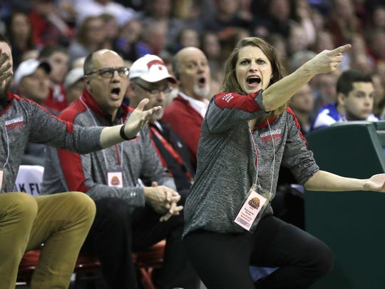 Hortonville High School's coach Celeste Ratka disputes a call against Beaver Dam High School during their Division 2 semifinal game at the WIAA state girls basketball tournament Friday, March 9, 2018, at the Resch Center in Ashwaubenon, Wis.  Dan Powers/USA TODAY NETWORK-Wisconsin