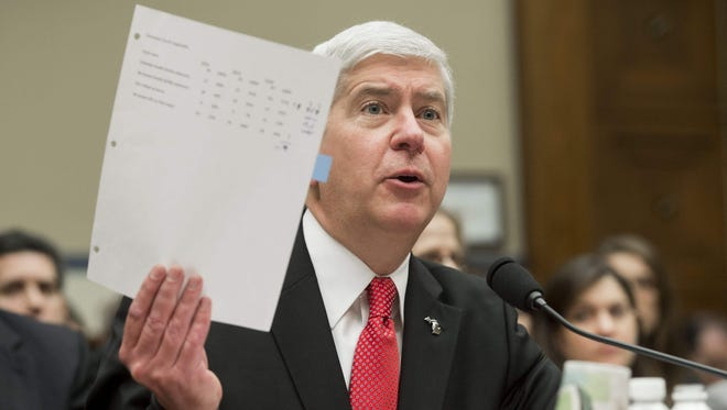 Gov. Rick Snyder testifies about the lead water in Flint during a House Oversight and Government Reform Committee hearing in 2016.