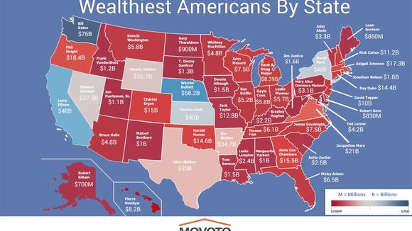 This map lists the wealthiest person in each state.