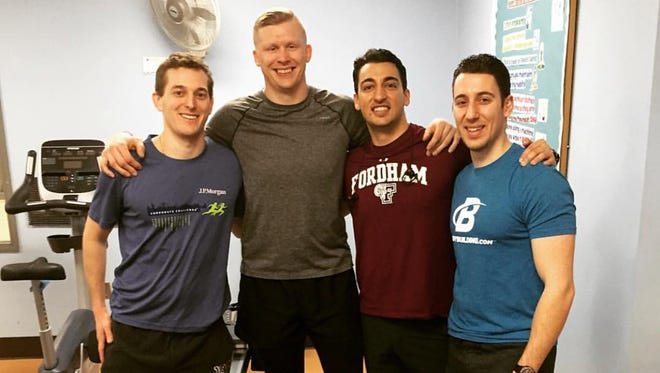 From left: Members of Team Undrafted Matt Anuszkiewicz, Andrew Poulson, Steve Cirincione and Joe Cirincione are on track to raise $25,000-plus for the New York City Decathlon, a benefit event for pediatric cancer patients.