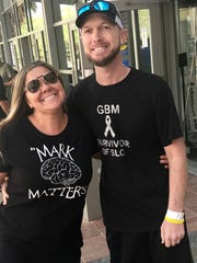 Mark Cunningham, seen with his wife Stephanie, has a rare form of brain cancer called glioblastoma. To help show the 34-year-old Cunningham and his family support and encouragement, the Van Duzer Foundation hosted a benefit May 9 at Big Apple Pizza and Pasta in Fort Pierce.