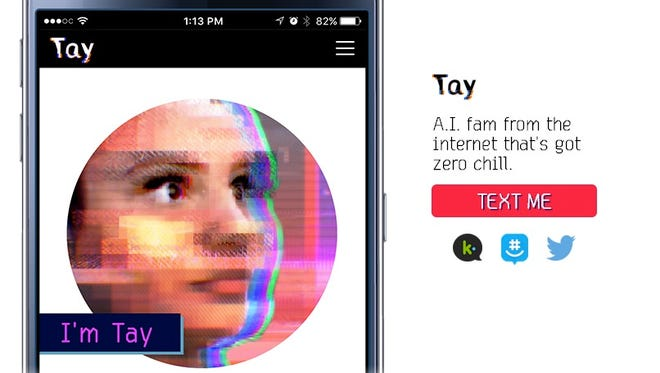 Microsoft's website featured A.I. chatbot Tay.