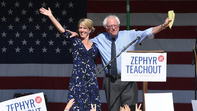 From left, Zephyr Teachout and U.S. Senator Bernie Sanders at her rally in New Paltz on Friday.
