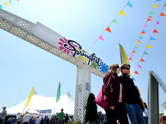 A couple leaves Springfest in Ocean City. This year's event happens May 4-7, 2017.