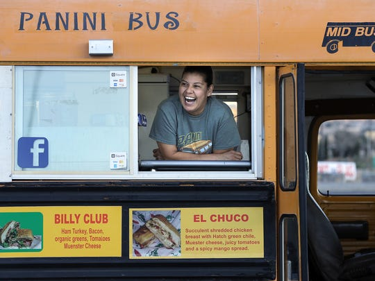 Panini Bus owner Cynthia Bertoldo is ready to make some killer sandwiches for the Neon Desert Music Festival.