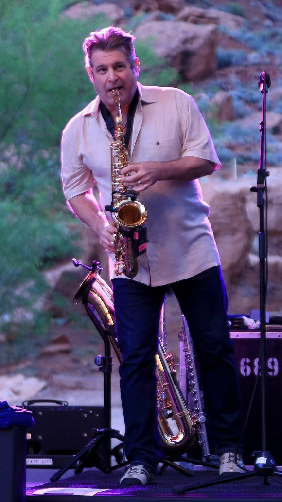 Saxophonist Randy Leago performs during his first concert