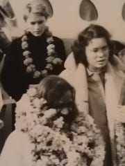 Mia Farrow (left) and Prudence (Farrow) right, getting