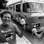 """Jerry Greenfield, left, and Ben Cohen, founders of Ben & Jerry's Homemade Inc., stand in front of their """"Scoopmobile"""" in Burlington, Vt. in  1986 . The founders of Ben & Jerry's Homemade Inc. say the company would not have existed without government resources that would be threatened if Congress repeals the estate tax."""