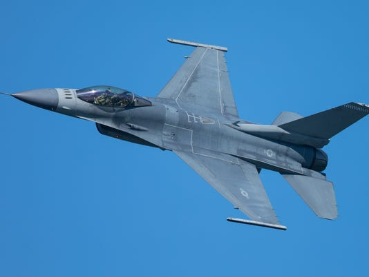 F-16 Fighting Falcon approaching at a very unusual close view