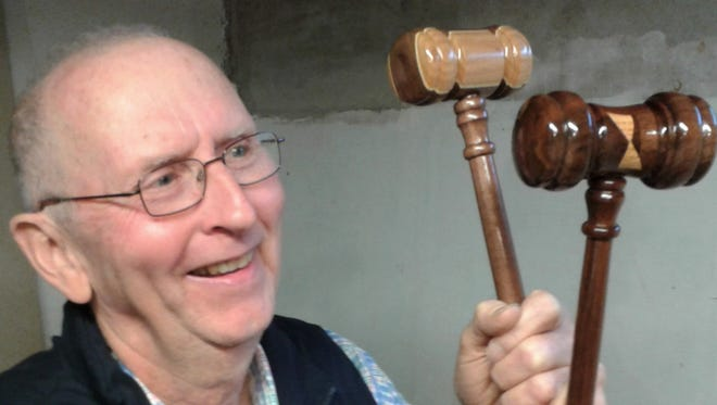 Chester Schulte estimates he has hand-crafted nearly 700 distinctive gavels over the past 25 years or so.  Most of them were distributed to union associations nationwide to help their presidents call meetings to order.