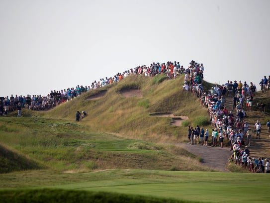 The crowd watches the action during the final round of the PGA Championship at Whistling Straits in 2015. Whistling Straits will be the site of the 2020 Ryder Cup.