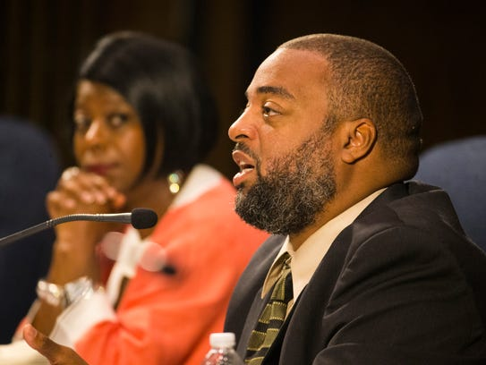 Wilmington City Council member Va'Shun Turner speaks